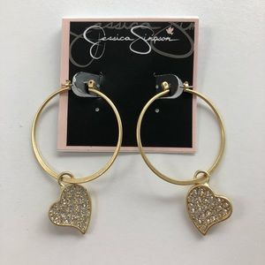 Jessica Simpson Hoop Earrings Dangling Heart